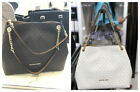 Michael Kors Jet Set Large Chain Shoulder Tote Bag Vanilla Brown MK Signature