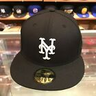 New Era 59fifty New York Mets Fitted Hat Cap Black/White/Grey Bottom/100% Wool on Ebay