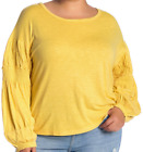 Melrose and Market Smocked Sleeve Cotton/Modal Blouse Yellow NWT $134