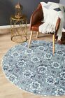 Flat-weave Cotton Printed Round Floor Area Rug Orbit Blue Allover