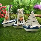 Miniature Sail-boat Marine Theme Wooden Crafts Ornaments Home Garden Decorations