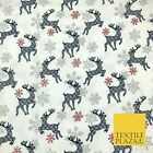 WHITE Christmas Reindeer Snowflakes Winceyette Brushed Cotton Print Fabric 1387