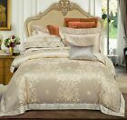 Elegant Silky Cotton Duvet Cover Bedding Set Queen King High Quality 4pcs UPS image