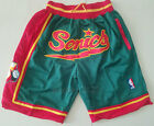 Men's Seattle Supersonics big LOGO JUST DON basketball pants shorts green on eBay