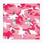 Metal Light Switch Cover Wall Plate Home Decor PINK WHITE CAMO