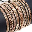 Trendsmax 585 Rose Gold Plated Chain Bracelet Mens Womens Ladies Bangle Jewelry  image