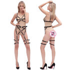 Lady Sexy Faux Leather Gothic Lingerie Cupless Bra Pants Elastic SM Body Harness