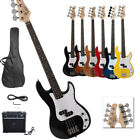 New Professional 6 Colors 4 String GP Glarry Electric Bass Guitar with 20W AMP