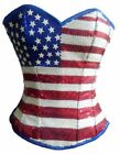 Blue Satin USA Flag Red White Sequins Burlesque Bustier Overbust Corset Costume