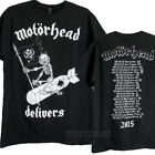 Motorhead Delivers 2015 US Tour 100% Pre-Shrunk Cotton T-shirt MEN Back Print