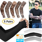 10Pcs Fake Temporary Tattoo Sleeve Arm Cover Cooling UV Sun Protection Sports