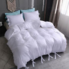 Duvet Cover Comforter Set Quilt Solid Tie Strap Pillowcase Twin Queen King Size