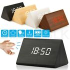 Modern Wooden Wood Digital LED Desk Alarm Clock Thermometer Timer Calendar RF