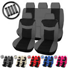 5 Seater Auto Seat Covers W/ Steering Wheel Belt Pad Head Rest Protectors $13.25 USD on eBay