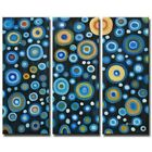 """""""Circles of Abundance"""" Blue Dots Abstract 3 Piece Panels Canvas Oil Painting Art"""