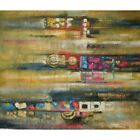 """""""Market Transport"""" Abstract Motion Blurred Blocks Wheels Canvas Oil Painting Art"""