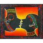 Kiss II African Tribal Couple Kissing Silhouette Canvas Oil Painting Wall Art