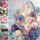 20 LED Globe Garland Cotton Ball String Fairy Lights Christmas Decorate Battery