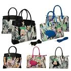 Floral Comic Pattern Cartoon Head Carry On Overnight Top Handle Bags