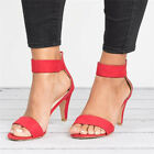 Women's Strappy Ankle Strap Sandals Peep Toe Block Mid Low Heel Party Shoes Size