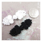 WEDDING DRESS FROG KNOT BEADED FASTENERS *BLACK / WHITE* 60mm x 22mm SEW ON