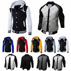 Men's Varsity University College Baseball Sports Jacket Coat Hooded Sweatshirt