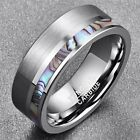 Fashionable Natural Abalone Shell Silver Color Matte Tungsten Carbide Ring image