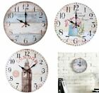12'' Round Wooden Wall Clock European Household Silent Battery Operated Clock US