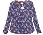 Womens Tunic Top New East Blue Red Floral Scoop Neck Jersey Blouse 8 & 10