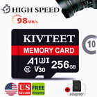 KIVTEET Memory Card 256GB Class10 98MB/s TF Card Secure for Cell Phone/Camera
