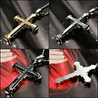 Black Silver Gold Stainless Steel Cross Crucifix Necklace Pendent Jewellery Gift