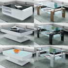 High Gloss Coffee Table Tempered Glass Top With Storage Space Living Room