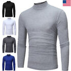 Mens Long Sleeve Turtleneck T-Shirt Pullover Top Plain Tee Shirts Casual Blouse image