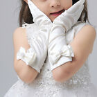 1 Pair Girls Satin Bow Pearl Gloves Princess Wedding Party Dance Dress Up Gloves