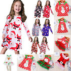 Toddler Kids Baby Girls Christmas Santa Tutu Dresses Party Festival Long Dress