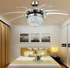 "36""-42"" Invisible Crystal Ceiling Fan Light Chandelier Remote Home Lamp Fixtures"