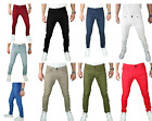 Mens skinny SLIM FIT STRETCH Chino Trousers Casual Flat Front Full Jeans Pants