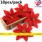 100pcs Artificial Poinsettia 14cm Christmas Tree Flowers Glitter Ornament Hot!