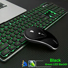 Wireless Rechargeable USB Green / Blue LED Backlit Keyboard and Optical Mouse