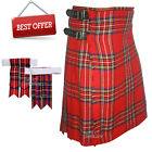 Scottish Royal Stewart Men 8 Yard Tartan Kilt With Flashes Premium Quality - WLC