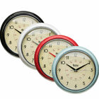 Shabby Chic Retro Vintage Analogue Clock Metal Round Wall  Diner Office Kitchen