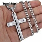 Mens Cross Charm Pendant Necklace Curb Cuban Stainless Steel Chain 5mm 18-24'' image