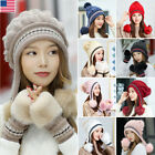 Kyпить Women Knitted Hat Gloves Set Xmas Gift Winter Warm Thicken Crochet Beanie Cap US на еВаy.соm