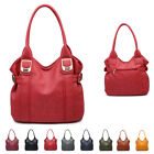 Ladies Faux Leather Buckle Slouch Handbag Hobo Day Work Shoulder Bag Tote MZ-026