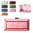 Ladies Metal Mother of Pearl Box Clutch Bag Cocktail Evening Bag Handbag MX101