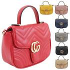 New Quilted Synthetic Leather Metallic Logo Small Crossbody Tote Bag
