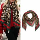 New Ladies Green & Red Stripe Leopard Print Fashion Scarf Shawl Wrap