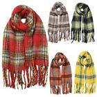 New Ladies Plaid Check Pattern Fringe Tassel Warm Winter Scarf