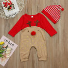 Newborn Baby Boy Girls Christmas Reindeer Romper Jumpsuit Clothes Outfits+Hat US