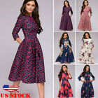Kyпить Ladies Retro Vintage 3/4 Long Sleeve Floral Womens Party Cocktail Maxi Dress USA на еВаy.соm